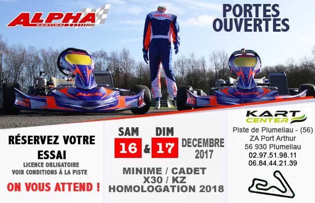 Portes ouvertes Alpha-karting au circuit kartcenter de Pluméliau les 16 et 17 décembre 2017