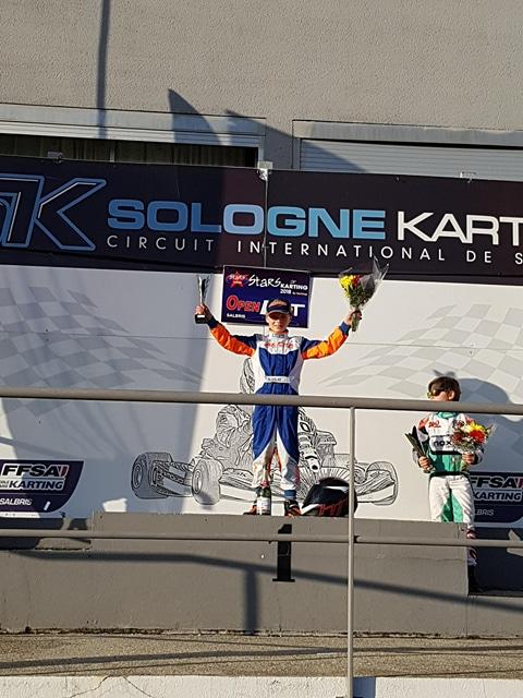 Bastian Leblais vainqueur de la première manche du Stars of Karting à Salbris en minimes